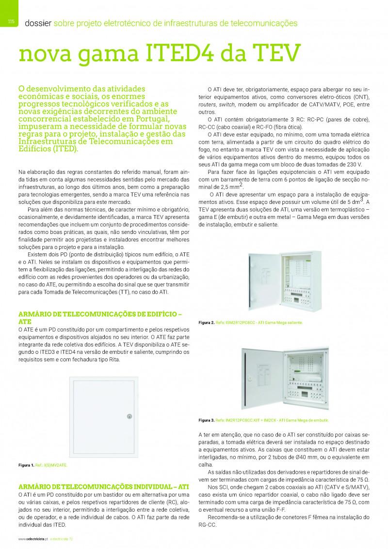 Dossier sobre Projeto eletrotécnico de infraestruturas de telecomunicações OE 72